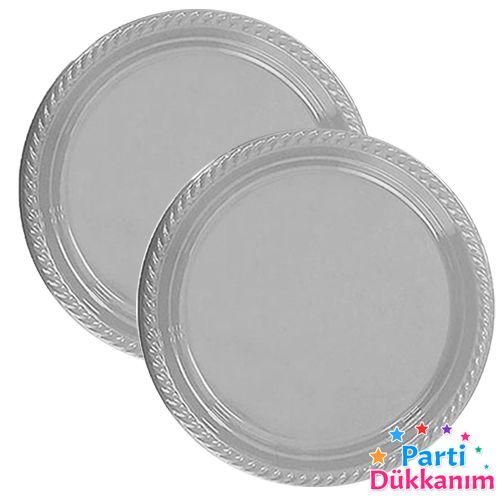 Gümüş Plastik Tabak (25 adet), fiyatı