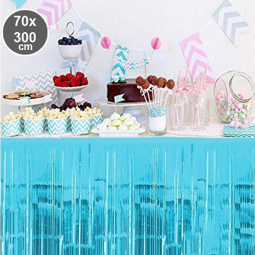Açık Mavi Püsküllü Masa Eteği 70*300 cm, fiyatı