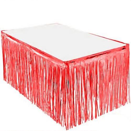 Kırmızı Püsküllü Masa Eteği 70*300 cm, fiyatı