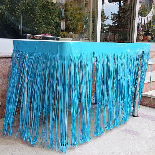 Bebe Mavisi Püsküllü Masa Eteği 75*400 cm, fiyatı