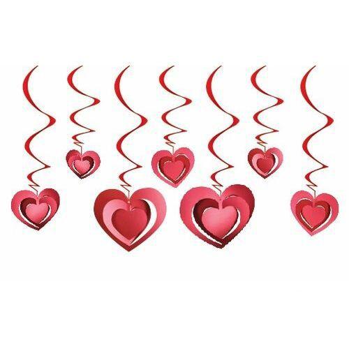 3D Kalp Asmalı Tavan Süsü Kırmızı 12 Adet