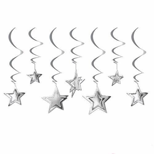 3D Yıldız Asmalı Tavan Süsü Gümüş 10 Adet, fiyatı