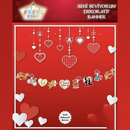 Seni Seviyorum Dekoratif Banner (165*20 cm), fiyatı