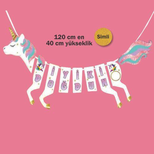 Unicorn Şeklinde İyi ki Doğdun Yazısı 120 cm, fiyatı