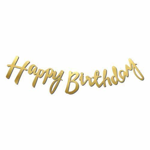Happy Birthday Gold Kaligrafi Banner 110 cm, fiyatı
