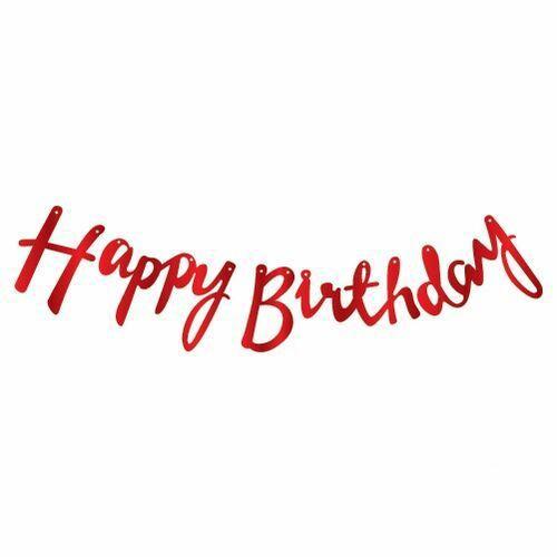 Happy Birthday Kırmızı Kaligrafi Banner 110 cm, fiyatı
