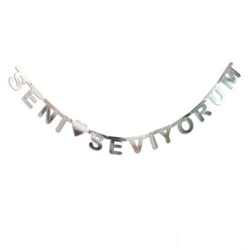 Seni Seviyorum Yazısı Gümüş 210 cm, fiyatı