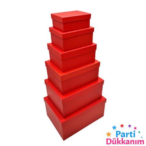 Kırmızı Dikdörtgen Hediye Kutusu 6 Boy Seçenekli, fiyatı