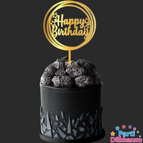 Happy Birthday Pleksi Pasta Süsü Gold (17x12 cm), fiyatı