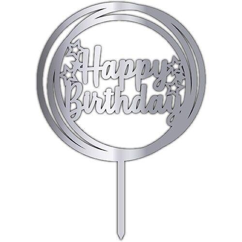 Happy Birthday Pleksi Pasta Süsü Gümüş (17x12 cm), fiyatı