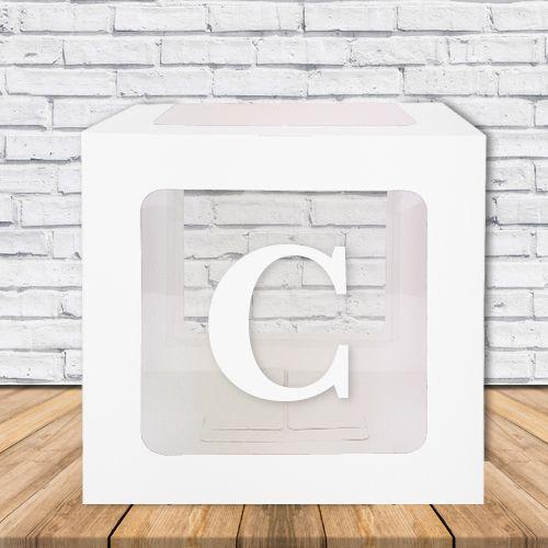 C - Harfi Şeffaf Kutu Mavi-Beyaz-Pembe 25 cm, fiyatı