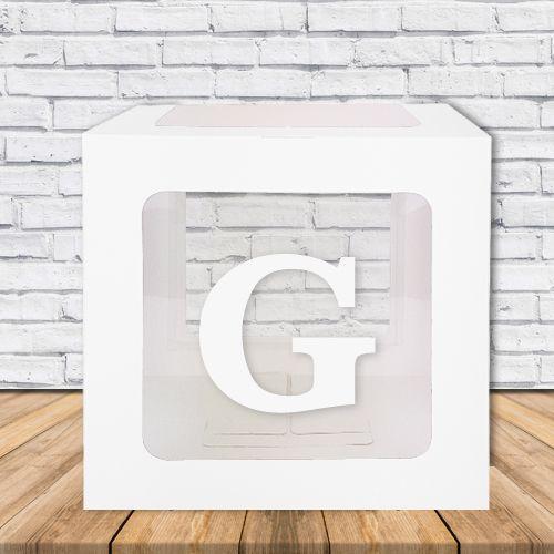 G - Harfi Şeffaf Kutu Mavi-Beyaz-Pembe 25 cm, fiyatı