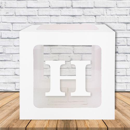 H - Harfi Şeffaf Kutu Mavi-Beyaz-Pembe 25 cm, fiyatı