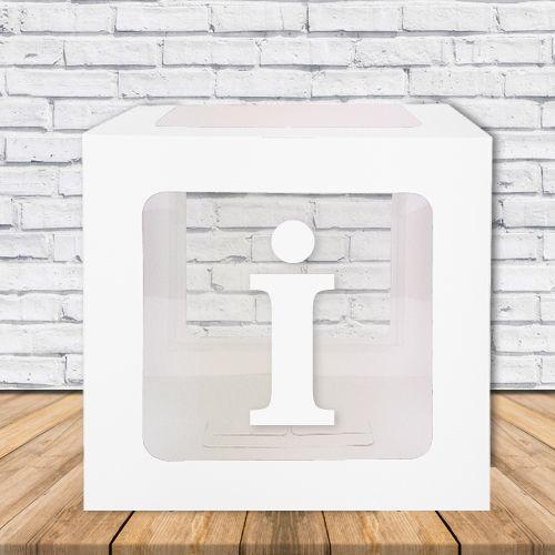 İ - Harfi Şeffaf Balon Kutusu Mavi-Beyaz-Pembe 16,5 cm, fiyatı