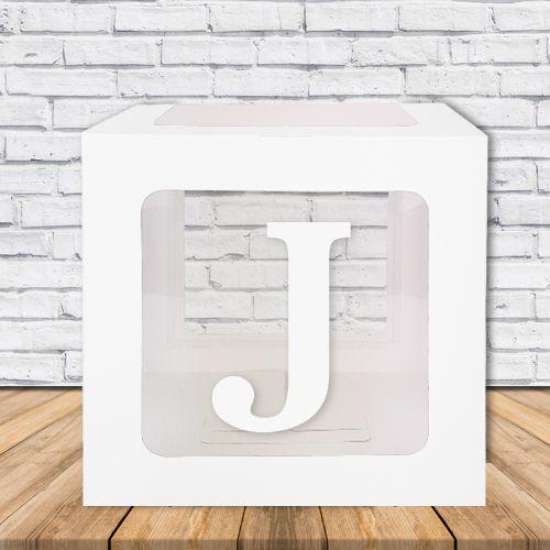 J - Harfi Şeffaf Kutu Mavi-Beyaz-Pembe 25 cm, fiyatı