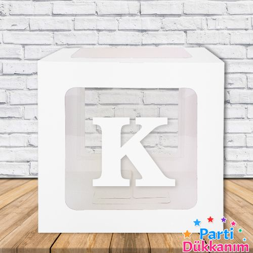 K - Harfi Şeffaf Balon Kutusu Mavi-Beyaz-Pembe 16,5 cm, fiyatı