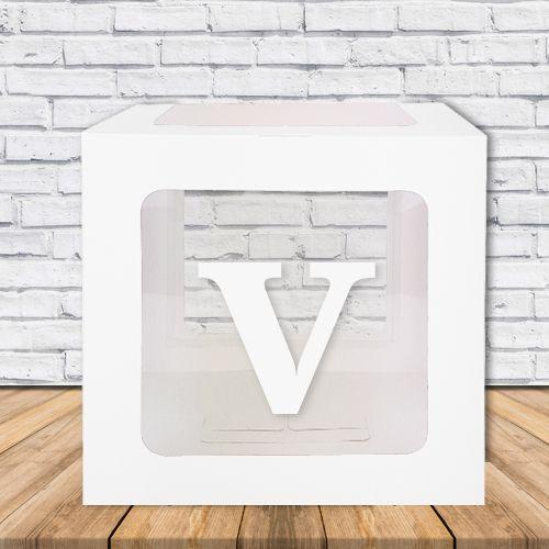 V - Harfi Şeffaf Kutu Mavi-Beyaz-Pembe 25 cm, fiyatı