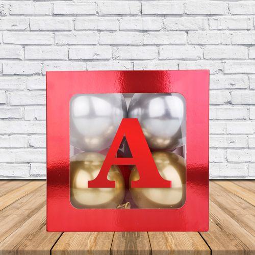 A - Harfi Şeffaf Kutu Kırmızı Metalik 25 cm, fiyatı