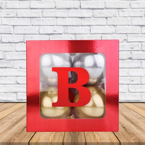 B - Harfi Şeffaf Kutu Kırmızı Metalik 25 cm, fiyatı