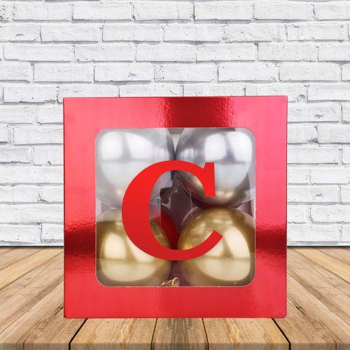 C - Harfi Şeffaf Kutu Kırmızı Metalik 25 cm, fiyatı