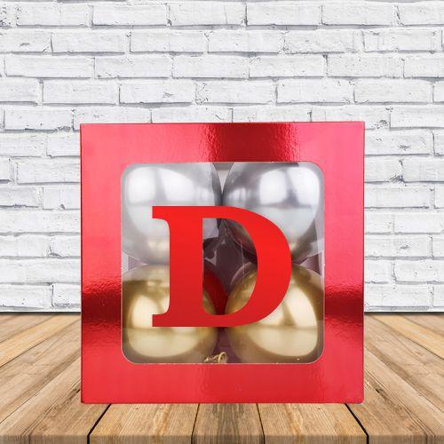 D - Harfi Şeffaf Kutu Kırmızı Metalik 25 cm, fiyatı
