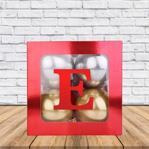 E - Harfi Şeffaf Kutu Kırmızı Metalik 25 cm, fiyatı
