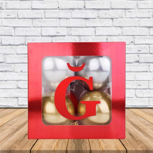 Ğ - Harfi Şeffaf Kutu Kırmızı Metalik 25 cm, fiyatı
