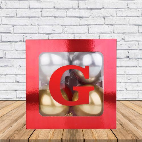 G - Harfi Şeffaf Kutu Kırmızı Metalik 25 cm, fiyatı