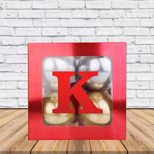 K - Harfi Şeffaf Kutu Kırmızı Metalik 25 cm, fiyatı