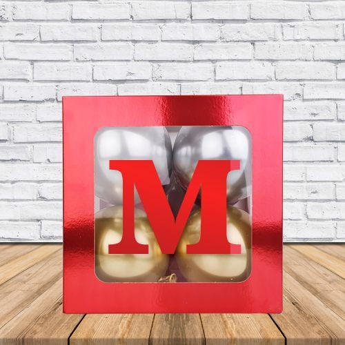 M - Harfi Şeffaf Kutu Kırmızı Metalik 25 cm, fiyatı