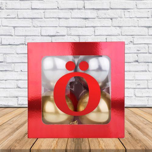 Ö - Harfi Şeffaf Kutu Kırmızı Metalik 25 cm, fiyatı