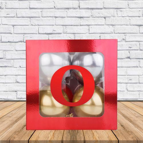 O - Harfi Şeffaf Kutu Kırmızı Metalik 25 cm, fiyatı