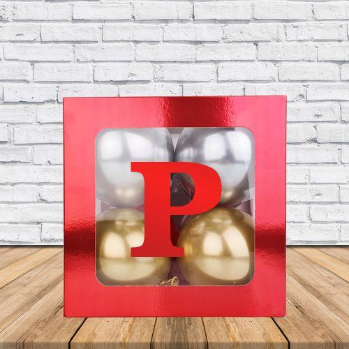 P - Harfi Şeffaf Kutu Kırmızı Metalik 25 cm, fiyatı