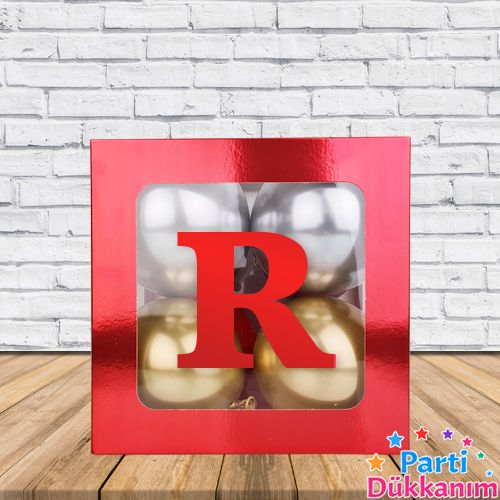 R - Harfi Şeffaf Kutu Kırmızı Metalik 25 cm, fiyatı