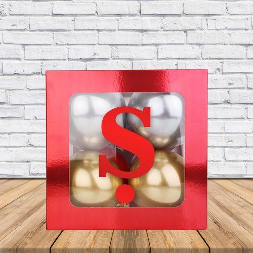 Ş - Harfi Şeffaf Kutu Kırmızı Metalik 25 cm, fiyatı