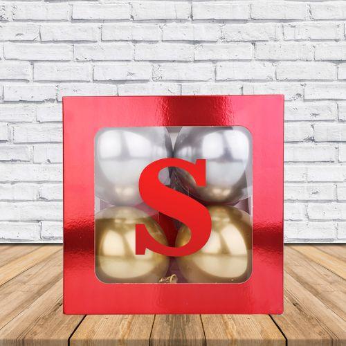 S - Harfi Şeffaf Kutu Kırmızı Metalik 25 cm, fiyatı