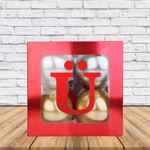 Ü - Harfi Şeffaf Kutu Kırmızı Metalik 25 cm, fiyatı