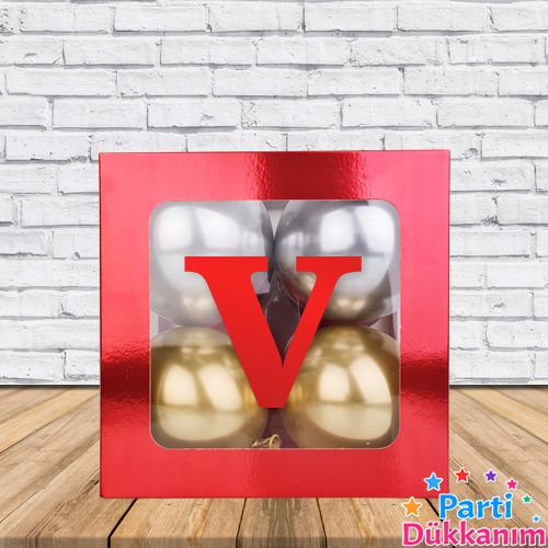 V - Harfi Şeffaf Kutu Kırmızı Metalik 25 cm, fiyatı