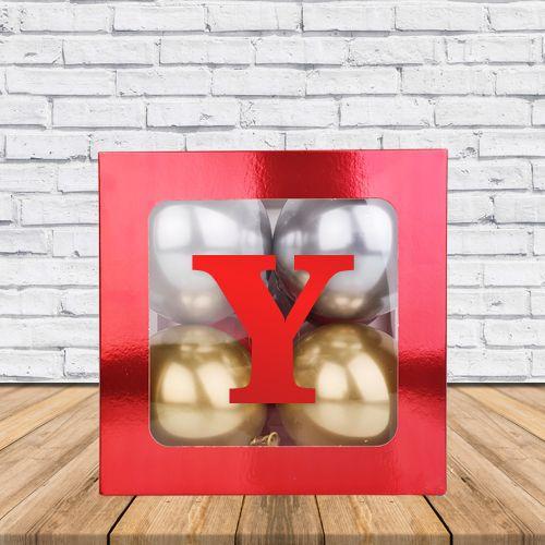 Y - Harfi Şeffaf Kutu Kırmızı Metalik 25 cm, fiyatı