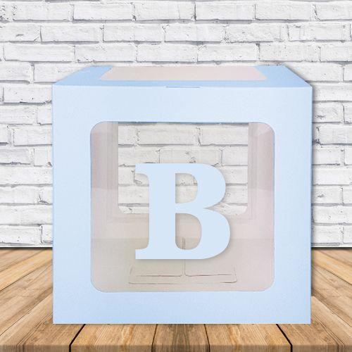B - Harfi Şeffaf Kutu Mavi-Beyaz-Pembe 25 cm, fiyatı
