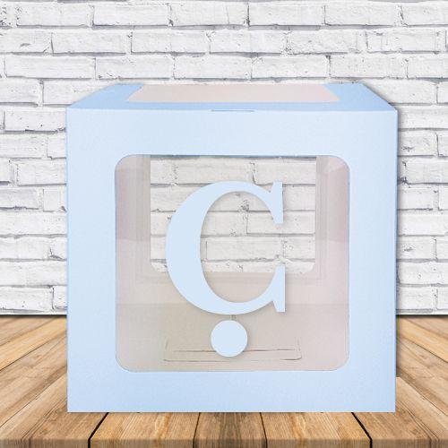 Ç - Harfi Şeffaf Kutu Mavi-Beyaz-Pembe 25 cm, fiyatı