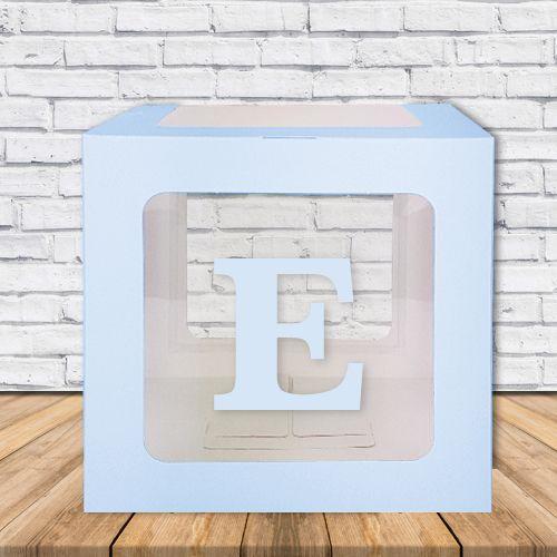 E - Harfi Şeffaf Kutu Mavi-Beyaz-Pembe 25 cm, fiyatı