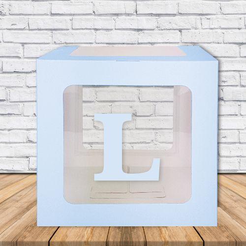 L - Harfi Şeffaf Balon Kutusu Mavi-Beyaz-Pembe 16,5 cm, fiyatı