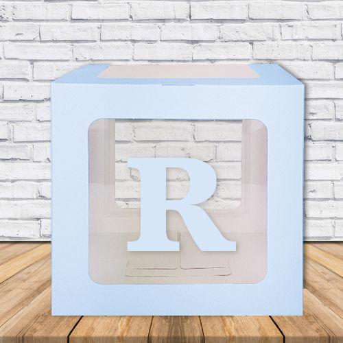 R - Harfi Şeffaf Balon Kutusu Mavi-Beyaz-Pembe 16,5 cm, fiyatı