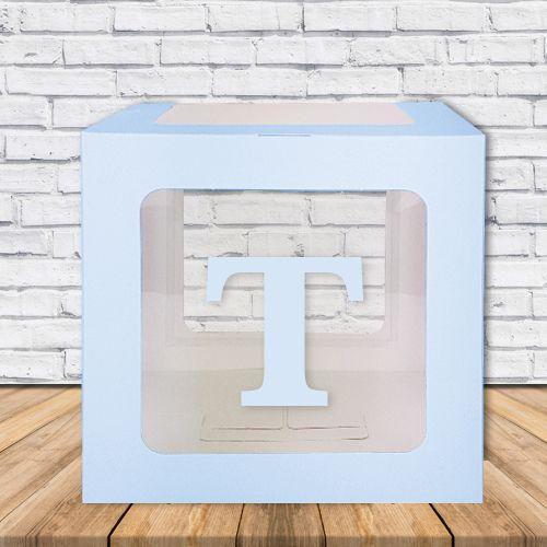 T - Harfi Şeffaf Kutu Mavi-Beyaz-Pembe 25 cm, fiyatı