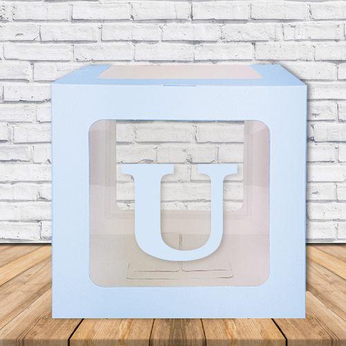 U - Harfi Şeffaf Kutu Mavi-Beyaz-Pembe 25 cm, fiyatı