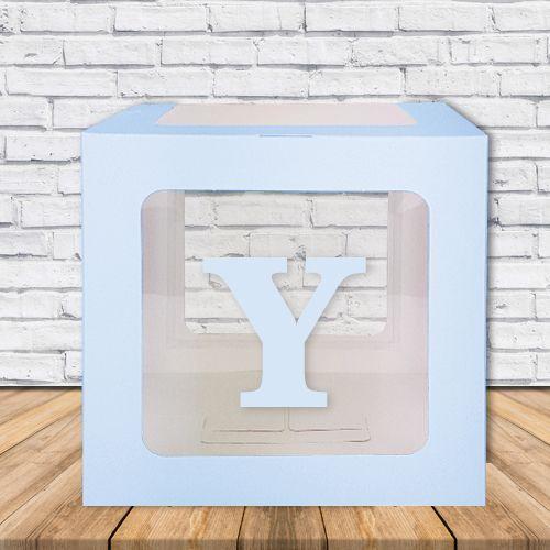 Y - Harfi Şeffaf Kutu Mavi-Beyaz-Pembe 25 cm, fiyatı