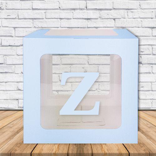 Z - Harfi Şeffaf Kutu Mavi-Beyaz-Pembe 25 cm, fiyatı