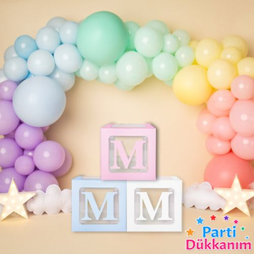 M - Harfi Şeffaf Balon Kutusu Mavi-Beyaz-Pembe 16,5 cm, fiyatı