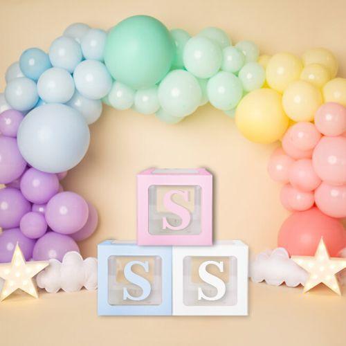 S - Harfi Şeffaf Balon Kutusu Mavi-Beyaz-Pembe 16,5 cm, fiyatı